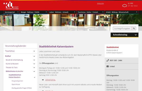Vorschau von www.kaiserslautern.de, Stadt Kaiserslautern - Stadtbibliothek