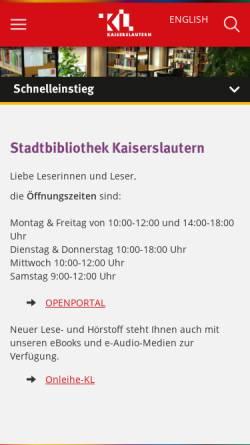 Vorschau der mobilen Webseite www.kaiserslautern.de, Stadt Kaiserslautern - Stadtbibliothek