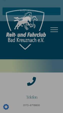 Vorschau der mobilen Webseite www.rfc-bad-kreuznach.de, Reit- und Fahrclub Bad Kreuznach e.V.