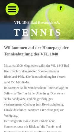 Vorschau der mobilen Webseite www.vflbadkreuznach-tennis.de, Tennis im VFL 1848 Bad Kreuznach e.V.