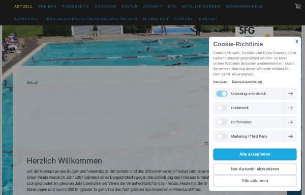 Vorschau von www.schwimmbad-gimbsheim.de, Schwimmverein Freibad Gimbsheim e.V.