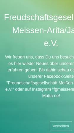 Vorschau der mobilen Webseite www.meissen-arita.de, Freundschaftsgesellschaft Meißen-Arita/Japan e.V.