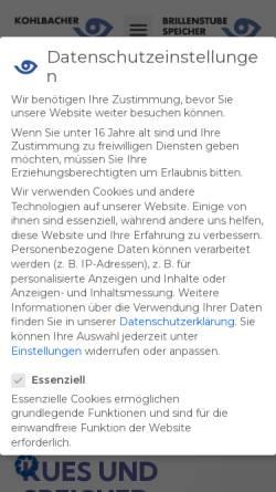 Vorschau der mobilen Webseite www.optik-kohlbacher.de, Brillen Kohlbacher GmbH
