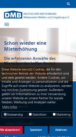Vorschau der mobilen Webseite www.mieterverein-meissen.de, Mieterverein Meißen und Umgebung e.V.