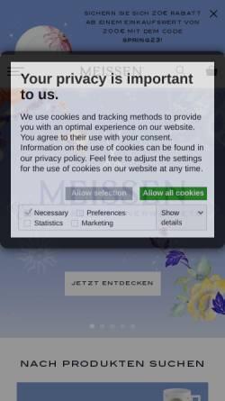 Vorschau der mobilen Webseite www.meissen.com, Staatliche Porzellan-Manufaktur Meissen