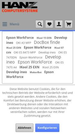 Vorschau der mobilen Webseite www.hanz.com, Hanz Computersysteme