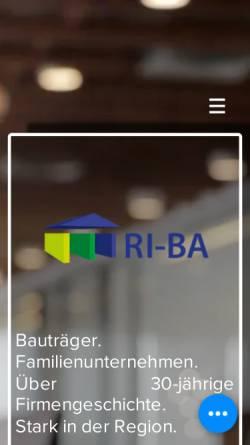 Vorschau der mobilen Webseite www.riba-gmbh.de, RI-BA Bauträger und Handelsgesellschaft mbH & Co. Grundstücks KG