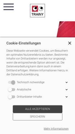 Vorschau der mobilen Webseite www.trainy.de, Trainy Kommunikationsberatung