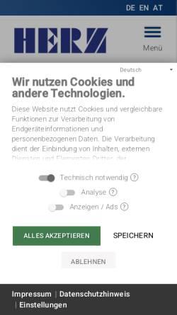 Vorschau der mobilen Webseite www.herz-gmbh.com, Herz-GmbH - Kunststoff- und Wärmetechnologie