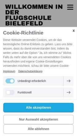 Vorschau der mobilen Webseite www.flugschule-bielefeld.de, Flugschule Bielefeld