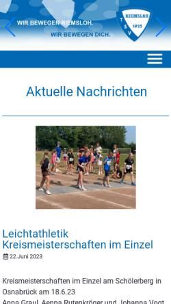 Vorschau der mobilen Webseite www.tsv-riemsloh.de, TSV Riemsloh 1925 e.V.