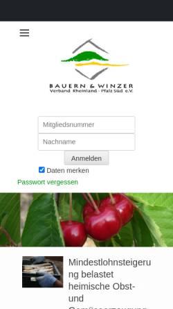 Vorschau der mobilen Webseite www.bwv-rlp.de, Bauern- und Winzerverband Rheinland-Pfalz Süd e.V.