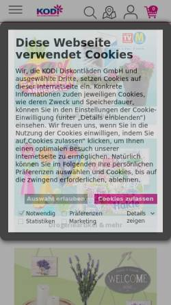 Vorschau der mobilen Webseite www.kodi.de, KODI - Diskontläden GmbH
