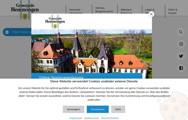 Vorschau von www.hemmingen.de, Gemeinde Hemmingen