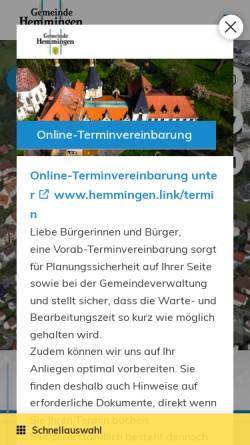 Vorschau der mobilen Webseite www.hemmingen.de, Gemeinde Hemmingen