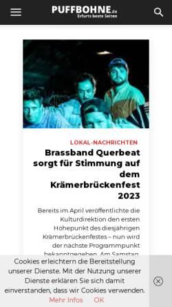 Vorschau der mobilen Webseite www.puffbohne.de, Puffbohne