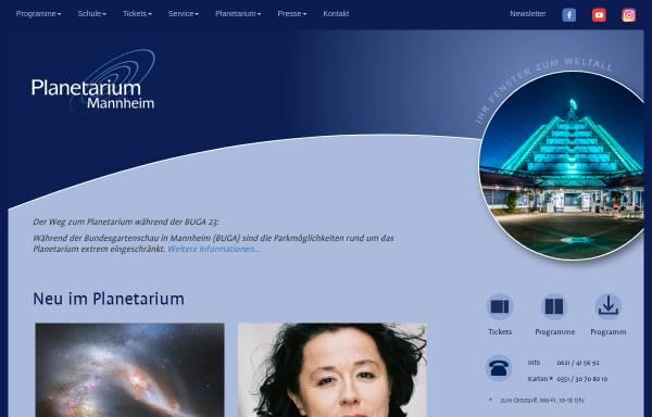 Vorschau von www.planetarium-mannheim.de, Planetarium