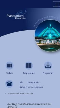 Vorschau der mobilen Webseite www.planetarium-mannheim.de, Planetarium