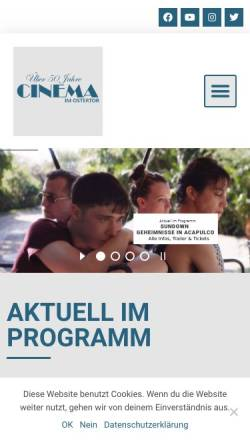 Vorschau der mobilen Webseite www.cinema-ostertor.de, Cinema Ostertor