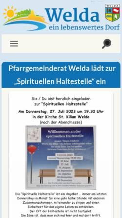 Vorschau der mobilen Webseite welda.de, Welda