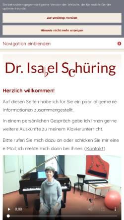 Vorschau der mobilen Webseite www.klavierunterricht-in-ahlen.de, Klavierunterricht, Dr. Isabel Schüring