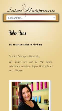 Vorschau der mobilen Webseite www.haarmonie-aindling.de, Salon Haarmonie Sandra Sauter