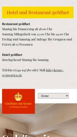 Vorschau der mobilen Webseite www.krone-weingarten.de, Hotel Gasthaus Zur Krone
