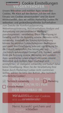 Vorschau der mobilen Webseite www.vilgertshofer.com, Bauunternehmen Vilgertshofer GmbH