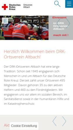 Vorschau der mobilen Webseite www.drk-altbach.de, DRK-Ortsverein Altbach