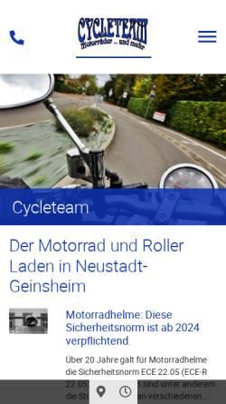 Vorschau der mobilen Webseite www.cycleteam.de, Cycleteam
