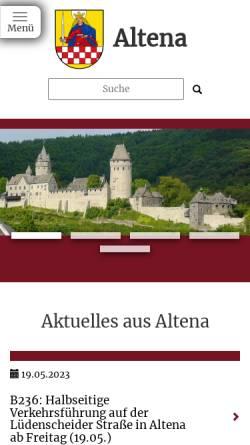 Vorschau der mobilen Webseite www.altena.de, Stadt Altena
