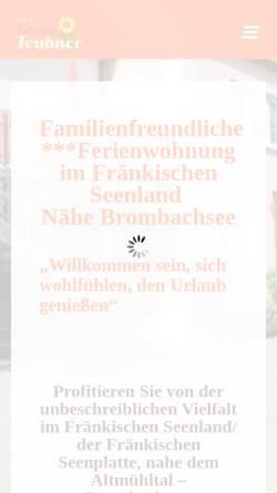 Vorschau der mobilen Webseite ferienhaus-teubner.de, Ferienwohnungen Teubner