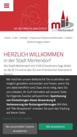 Vorschau der mobilen Webseite www.merkendorf.de, Stadt Merkendorf