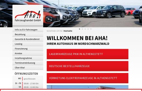 Vorschau von www.aha-fahrzeughandel.de, Aha Fahrzeughandel GmbH