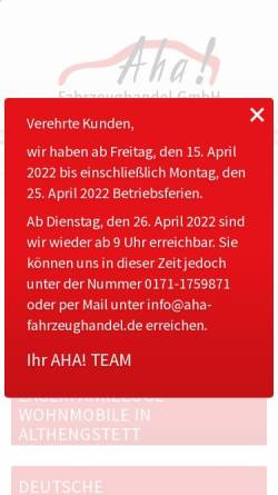 Vorschau der mobilen Webseite www.aha-fahrzeughandel.de, Aha Fahrzeughandel GmbH