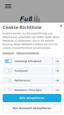 Vorschau der mobilen Webseite www.fuss-werkzeugmaschinen.com, Fuß Werkzeugmaschinen