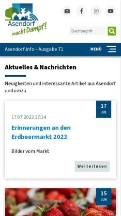 Vorschau der mobilen Webseite www.asendorf.info, Gemeinde Asendorf