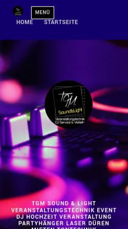 Vorschau der mobilen Webseite www.tgm-team.de, TGM Sound & Light Veranstaltungstechnik Thomas Garding