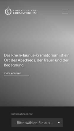 Vorschau der mobilen Webseite www.rhein-taunus-krematorium.de, Rhein-Taunus-Krematorium GmbH