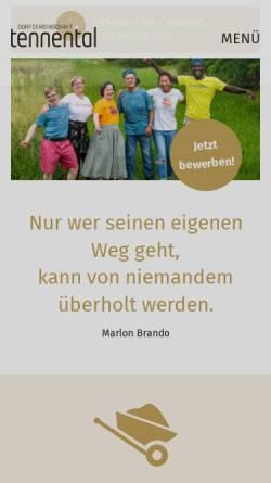Vorschau der mobilen Webseite www.tennental.de, Dorfgemeinschaft Tennental