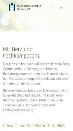 Vorschau der mobilen Webseite www.fbdiemelstadt.de, Feuerbestattungen Diemelstadt w.V.