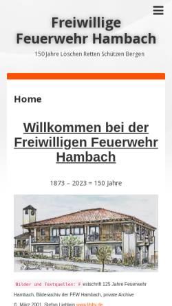 Vorschau der mobilen Webseite www.feuerwehr-hambach.de, Freiwillige Feuerwehr Hambach