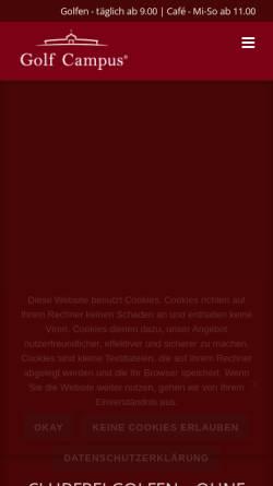 Vorschau der mobilen Webseite www.golfcampus.de, Golf Campus