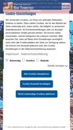 Vorschau der mobilen Webseite www.badtennstedt.de, Bad Tennstedt