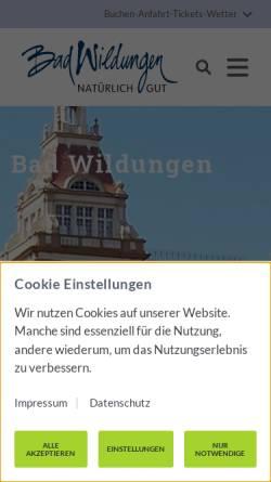 Vorschau der mobilen Webseite www.bad-wildungen.de, Bad Wildungen