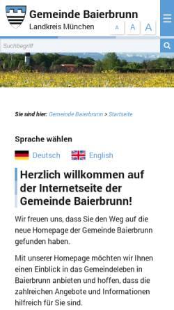 Vorschau der mobilen Webseite www.baierbrunn.de, Gemeinde Baierbrunn