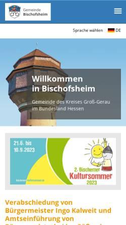 Vorschau der mobilen Webseite bischofsheim.de, Gemeinde Bischofsheim