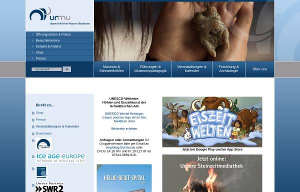 Vorschau von www.urmu.de, Urgeschichtliches Museum Blaubeuren