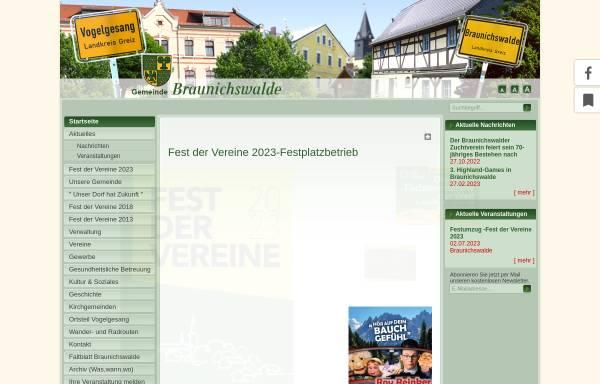Vorschau von www.braunichswalde.de, Gemeinde Braunichswalde