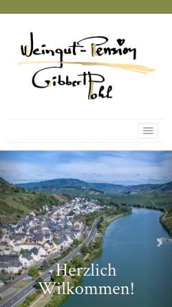 Vorschau der mobilen Webseite www.gibbert-pohl.de, Pension Weingut Gibbert-Pohl